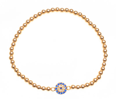 Small classic round gold filled beaded evil eye bracelet