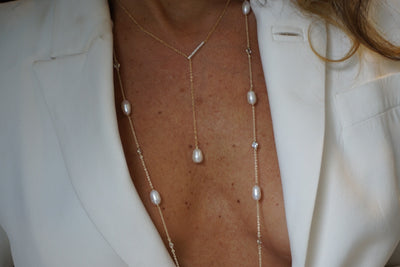 Lariat style pearls of wisdom necklace