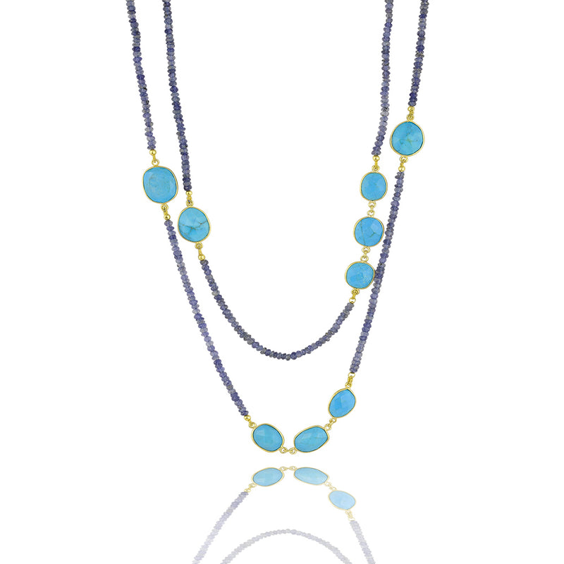Turquoise and iolite throat chakra necklace