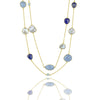 Pearl, sodalite, aquamarine and blue agate classic chakra necklace