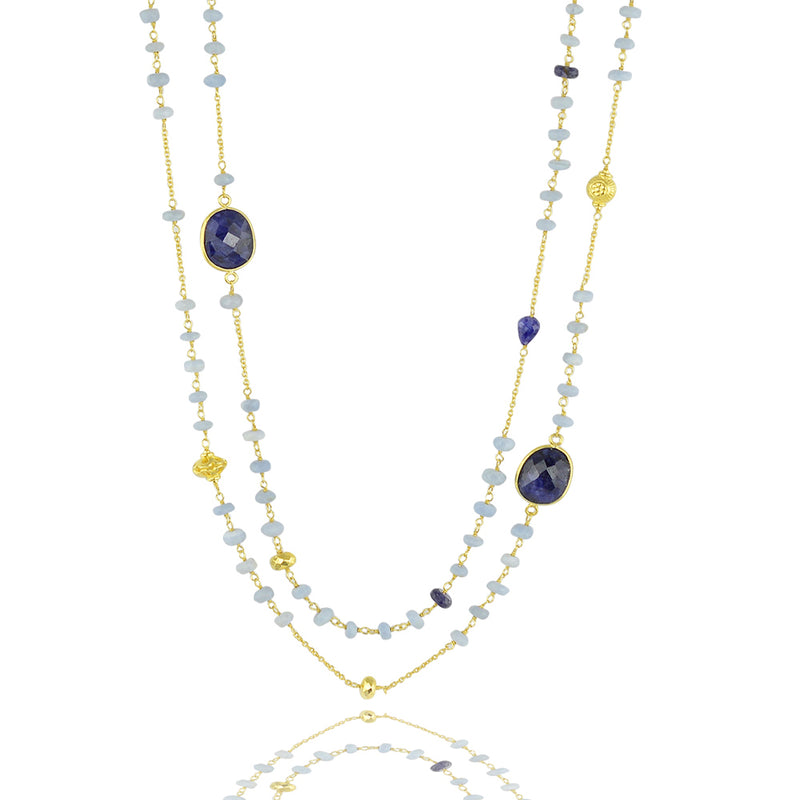 Blue sodalite chakra long necklace