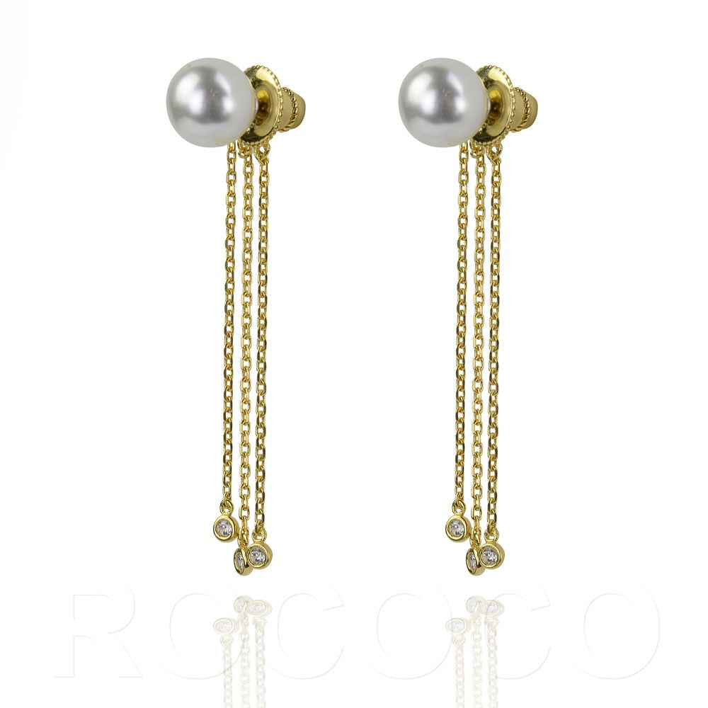Pearl and three chain drop earing