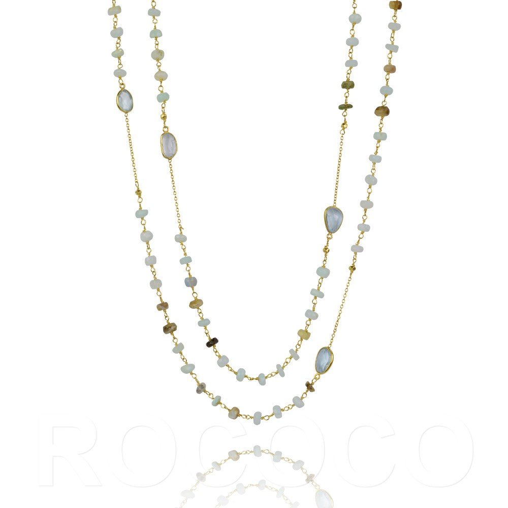 Opal and blue topaz chakra necklace