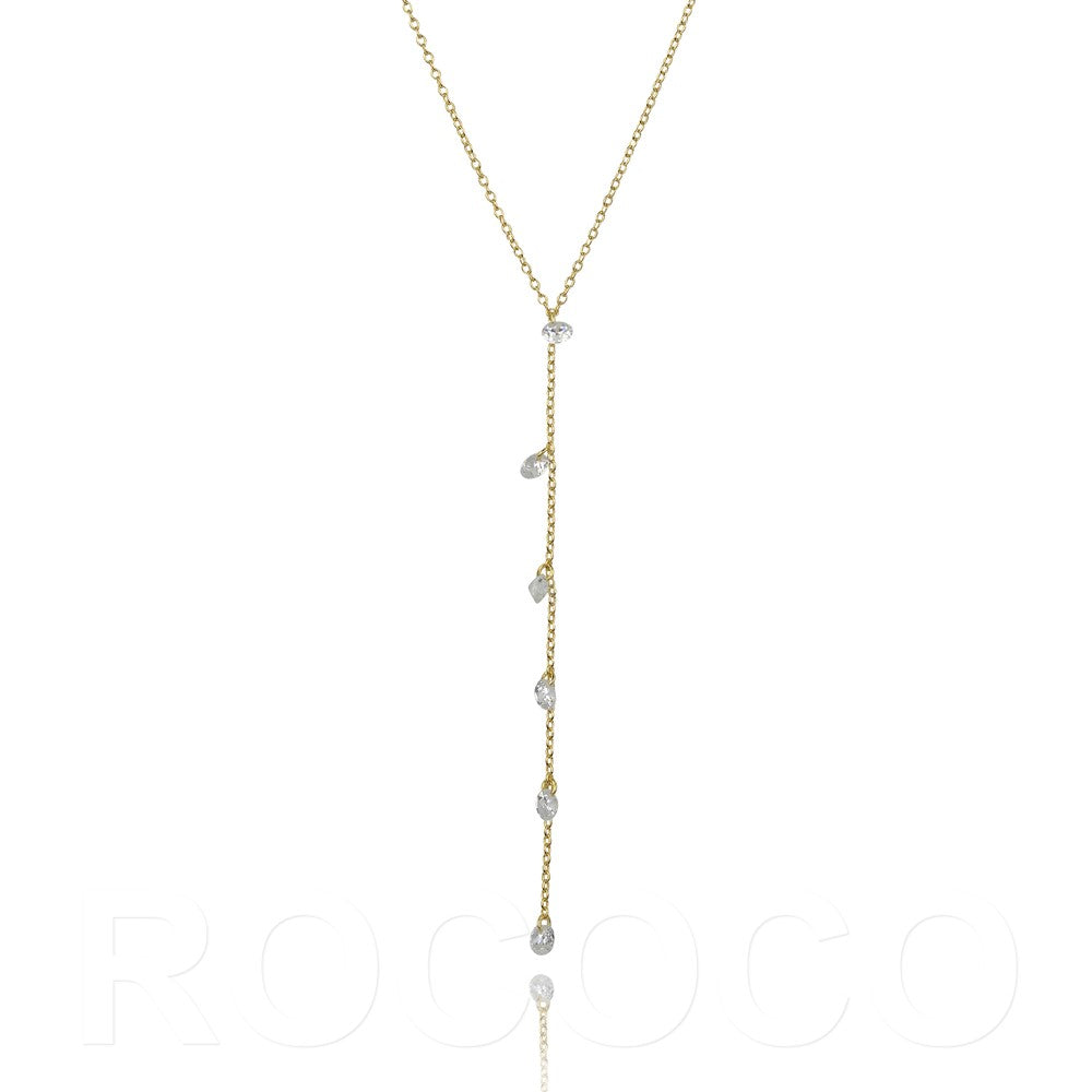 Short lariat glitter necklace