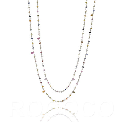 Long saphire  Multi coloured chakra necklace