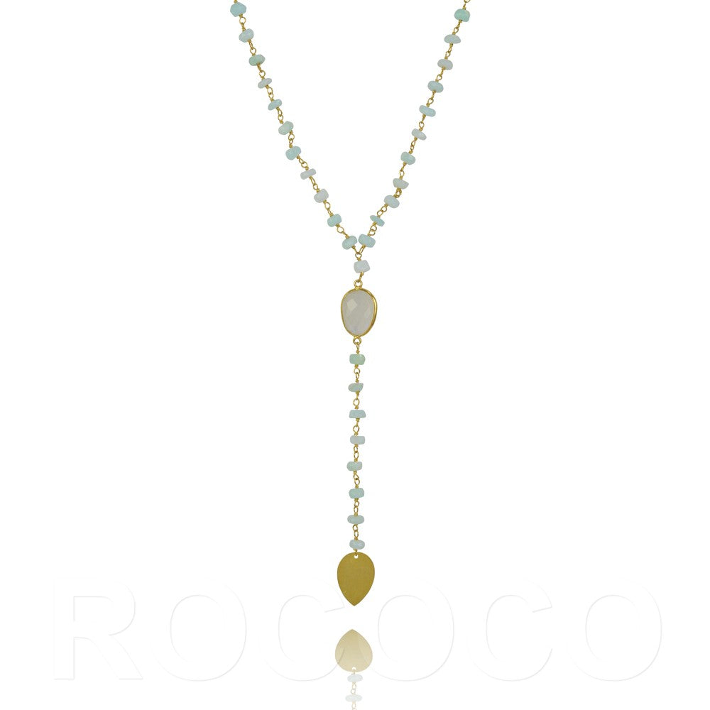 Opal and moonstone lariat drop chakra necklace