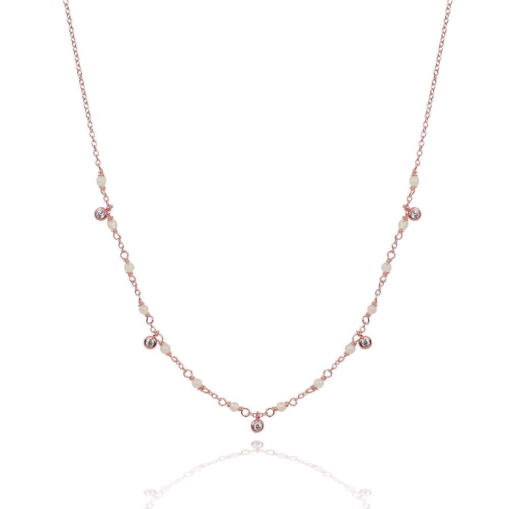 Rose Quarts magic drop glitter necklace