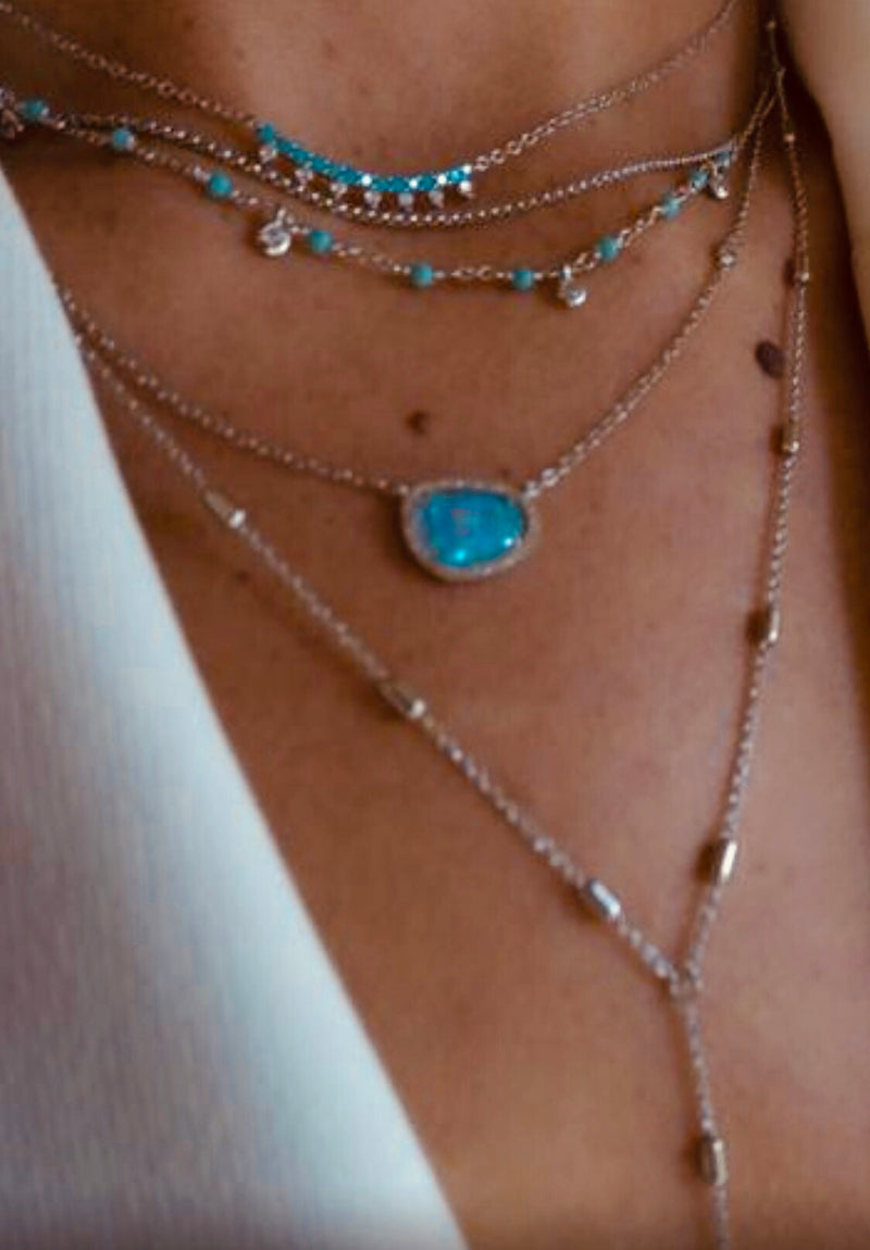 Turquoise magic glitter drop necklace