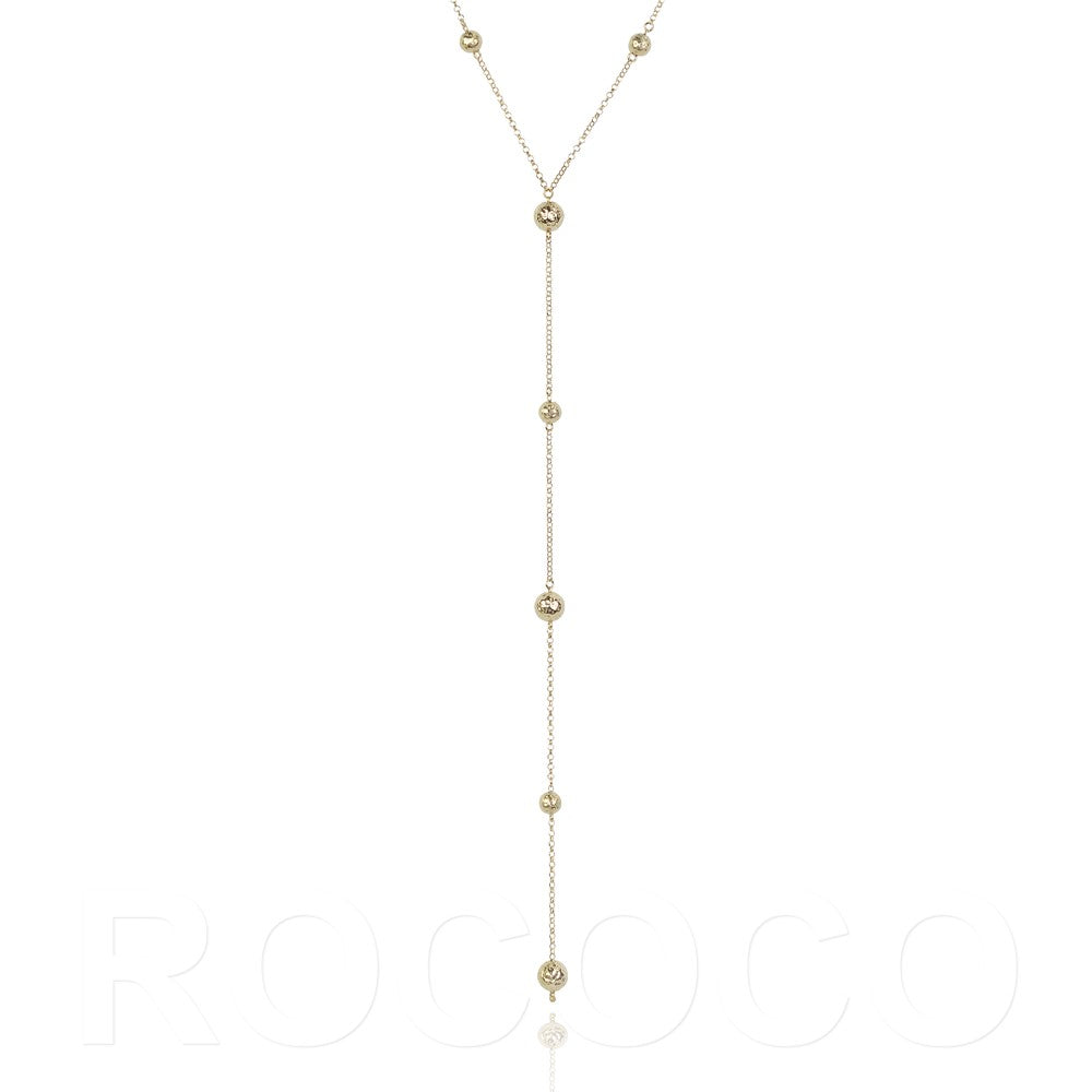 Lariat style ball karma necklace