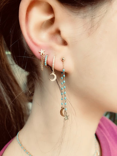 Shine your light all day and night moon and star earings