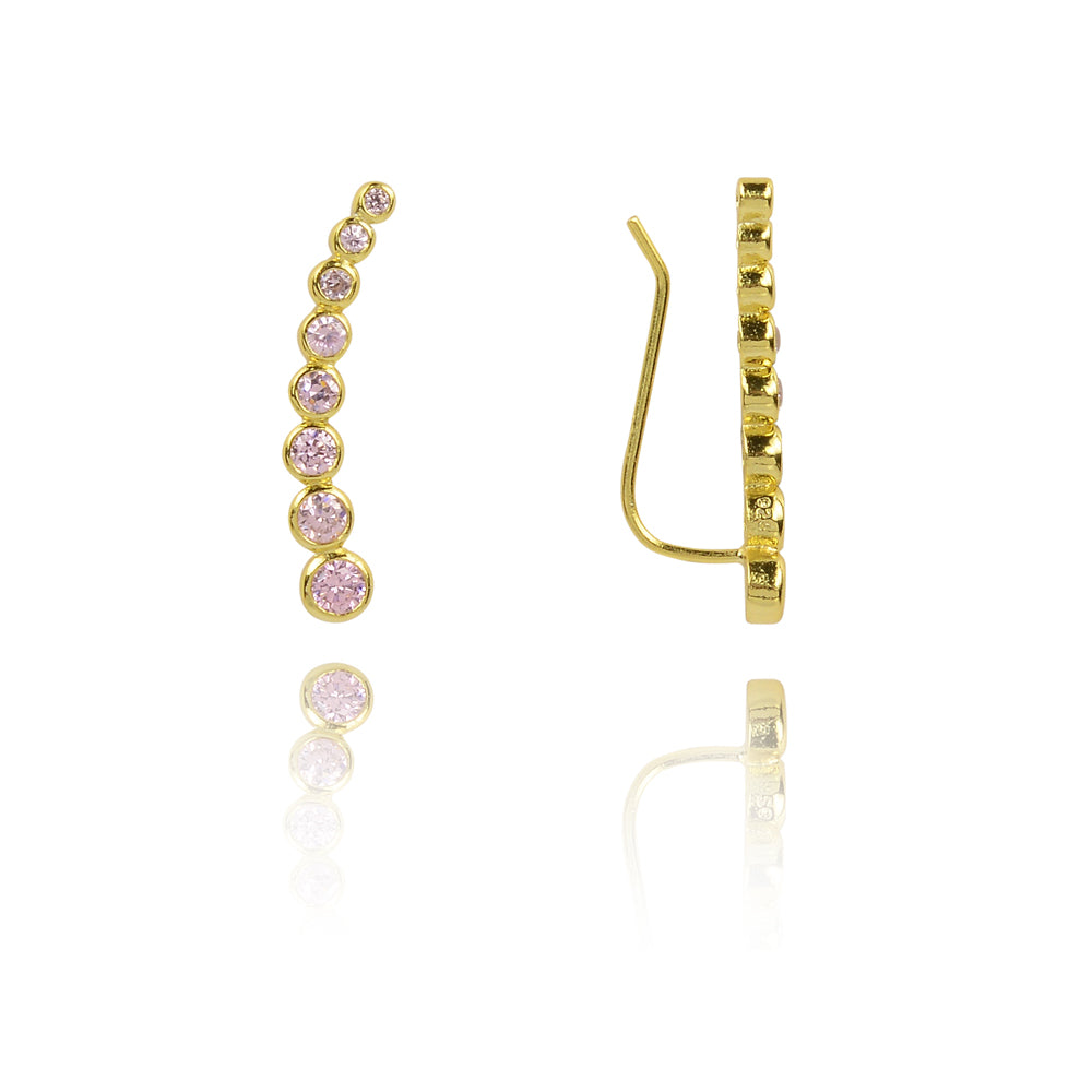 Baby pink Glitter climber earings