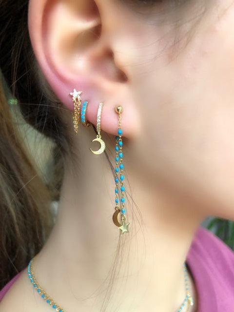 Huggy glitter colour hoop earings