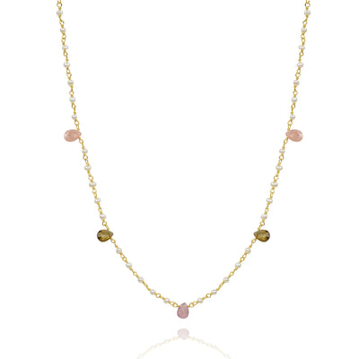 Pearl and shaphire short necklace