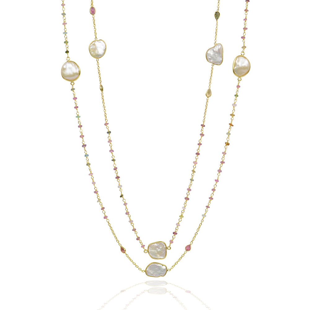 Pearls and tourmaline long necklace
