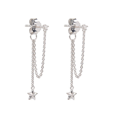 Shine your light matt star chain drop earings