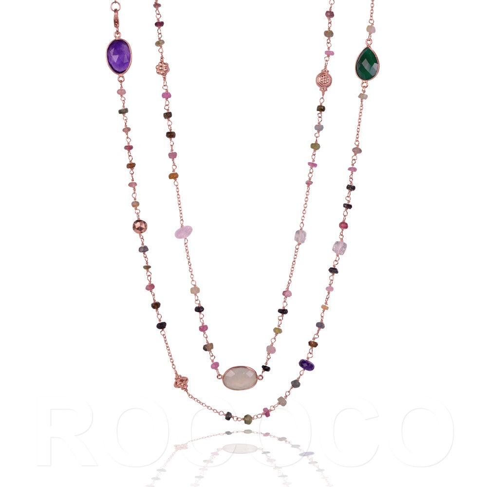 Multi coloured heart chakra healing necklace