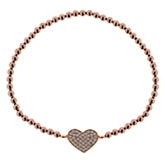 Rose gold filled heart beaded bracelet