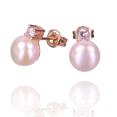 Pearls of wisdom single stud and cubic zirconia earing
