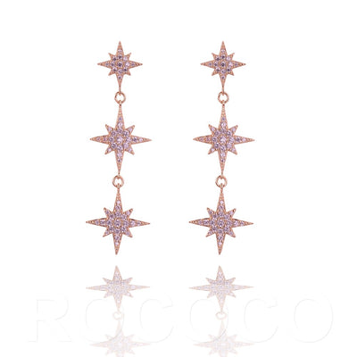 Three shining  stars  earing
