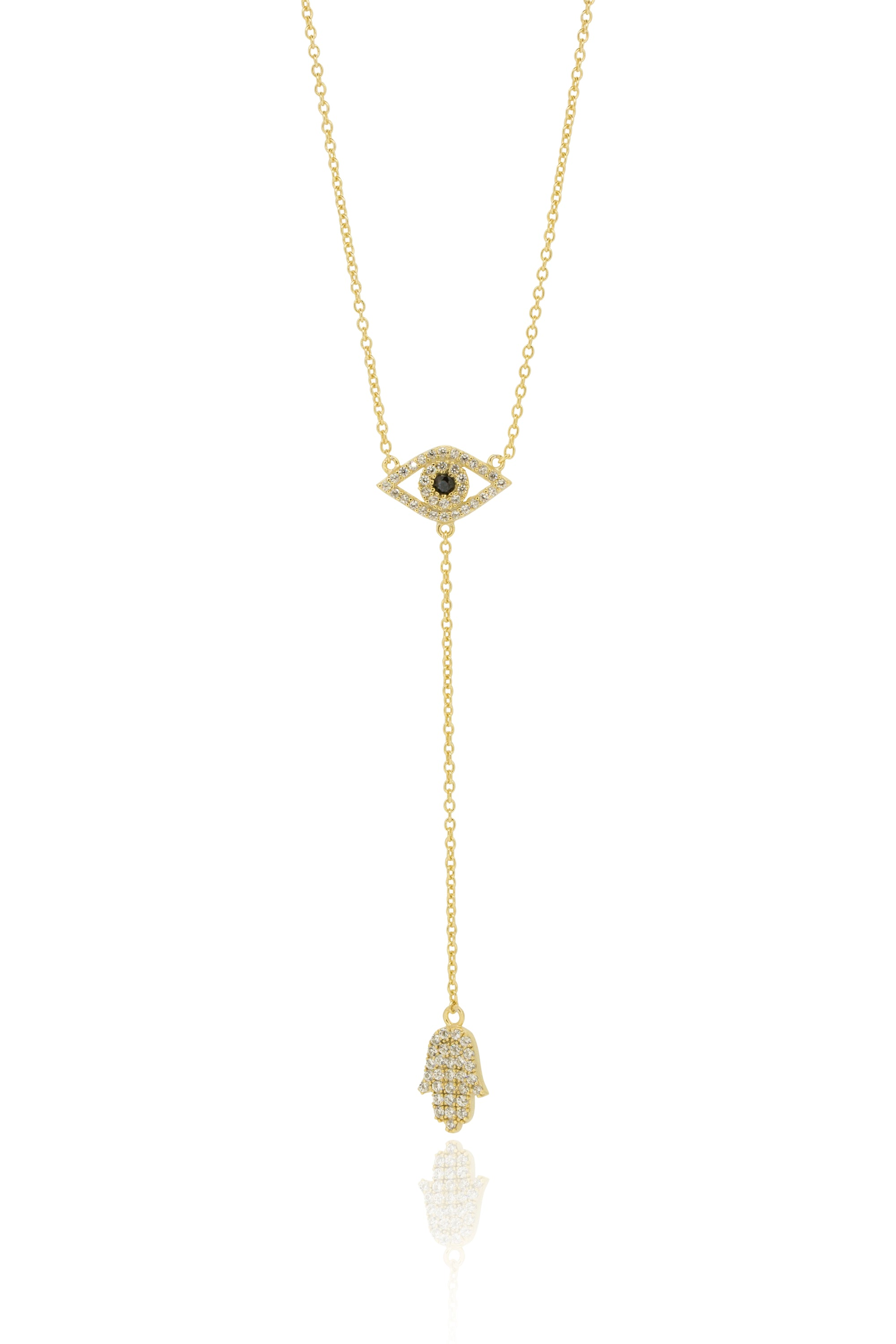 Eye and hand protection and good luck drop lariat style necklace