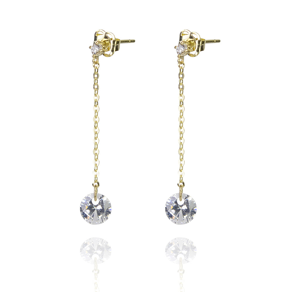 Solid gold simple drop cz earing