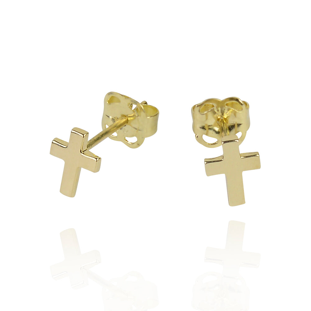 Solid gold cross love and faith stud earings