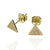 Solid gold balance,strength and  true wisdom triangle studs.