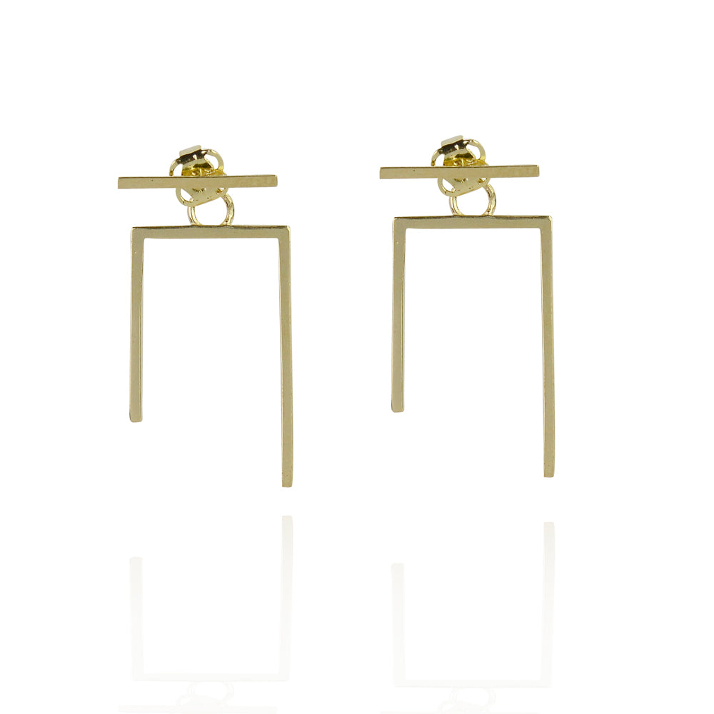 solid gold balance bar faith earing