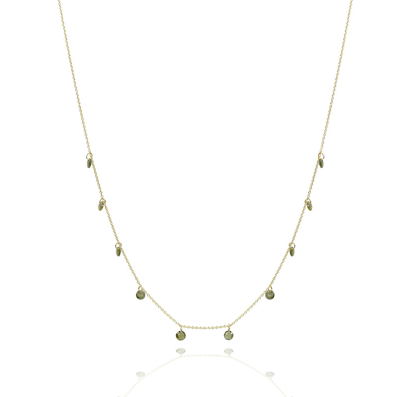 Solid Gold Love heart chakra 10 stone drop necklace