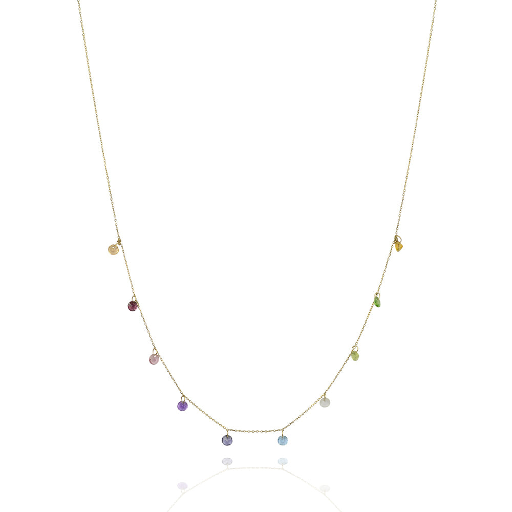 Precious stone solid gold chakra necklace
