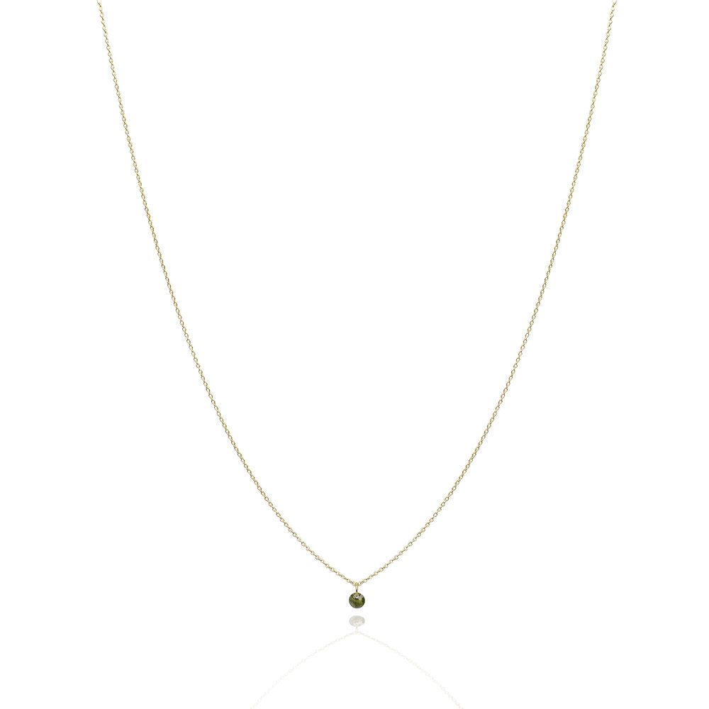 Single drop chakra green saphire solid gold necklace