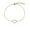 Solid gold large heart diamond love bracelet