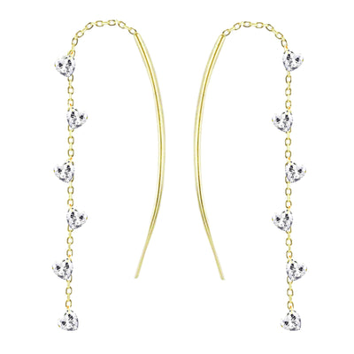 Non encased multi heart threader earing