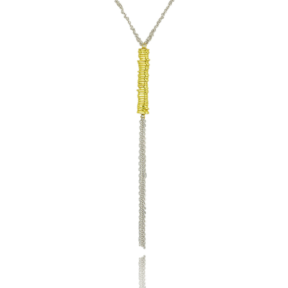 Platted chain bar balance necklace