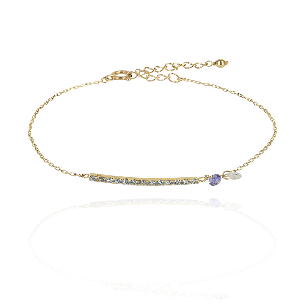 Balance bar and chakra solid gold bracelet