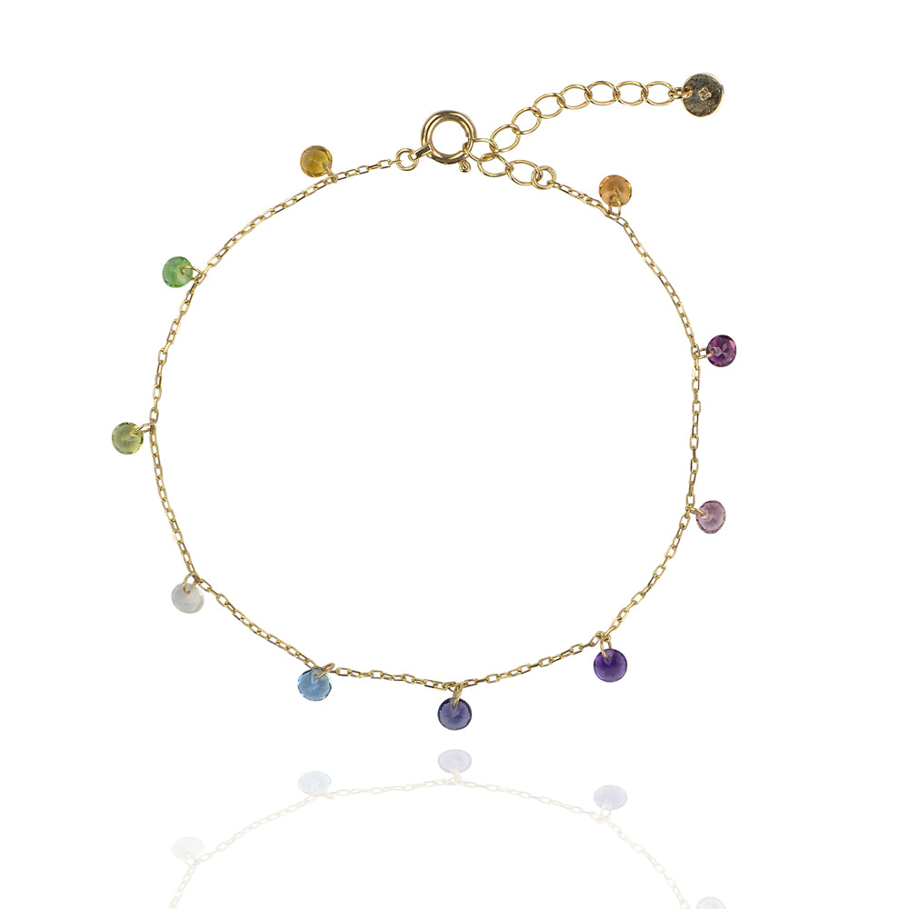 Solid gold chakra saphire coloured drop bracelet