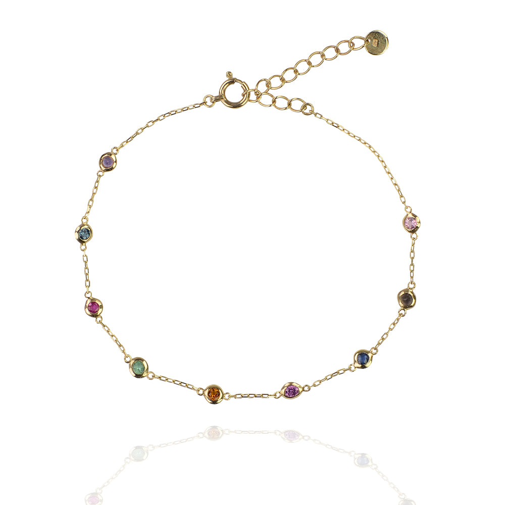 Multi coloured chakra classic saphire bracelet