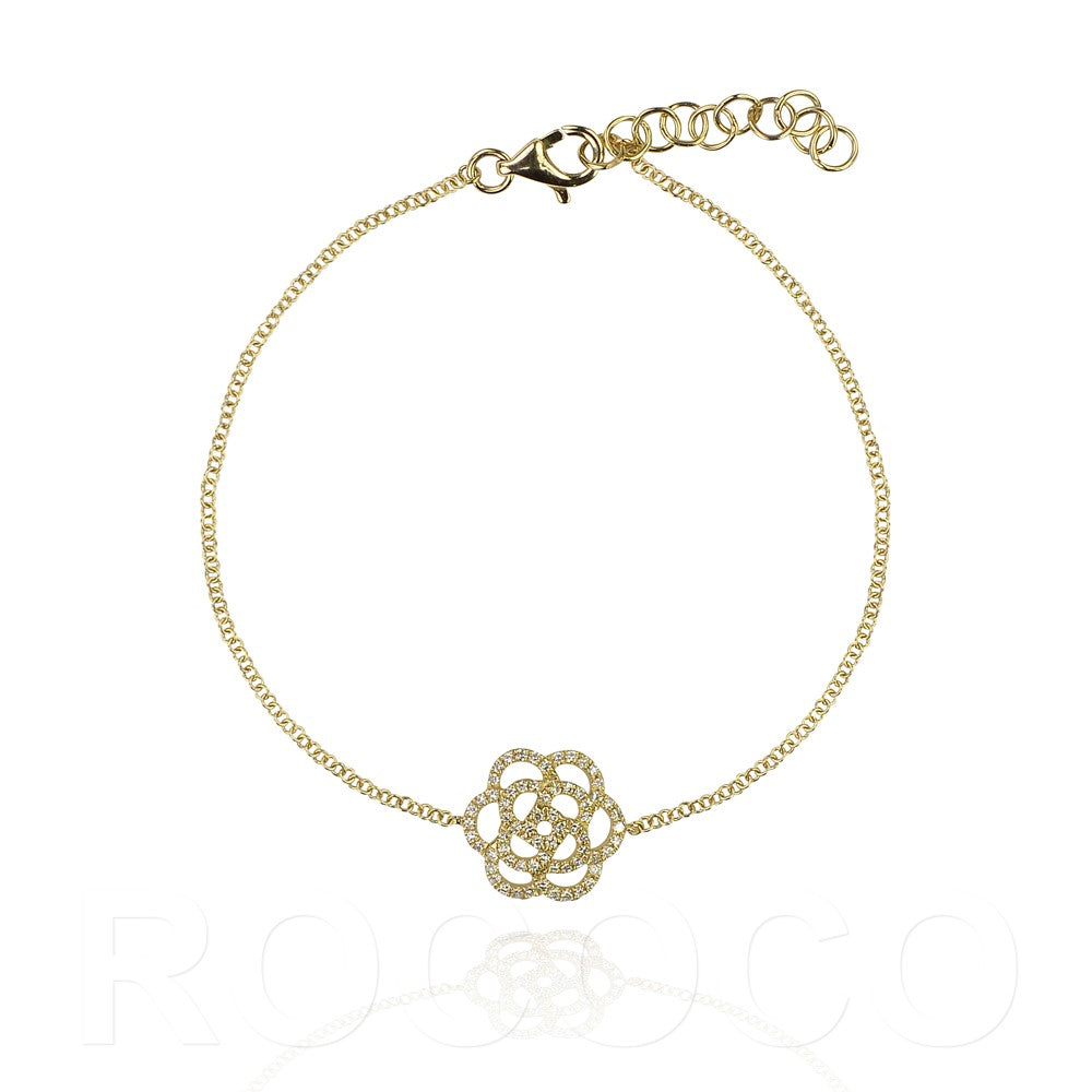 Solid gold and diamonds flower joy rose bracelet