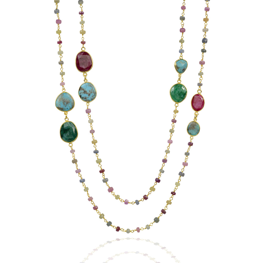 Saphire,Turquoise and tourmalione long semi precious chakra necklace