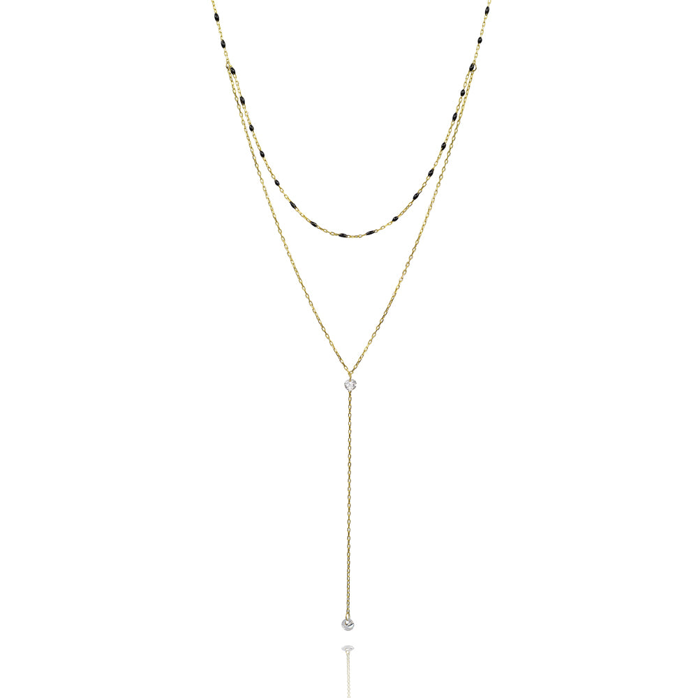 Two strand y shape enlighten necklace