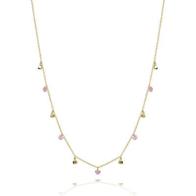 Pink glitter stone and disc necklace