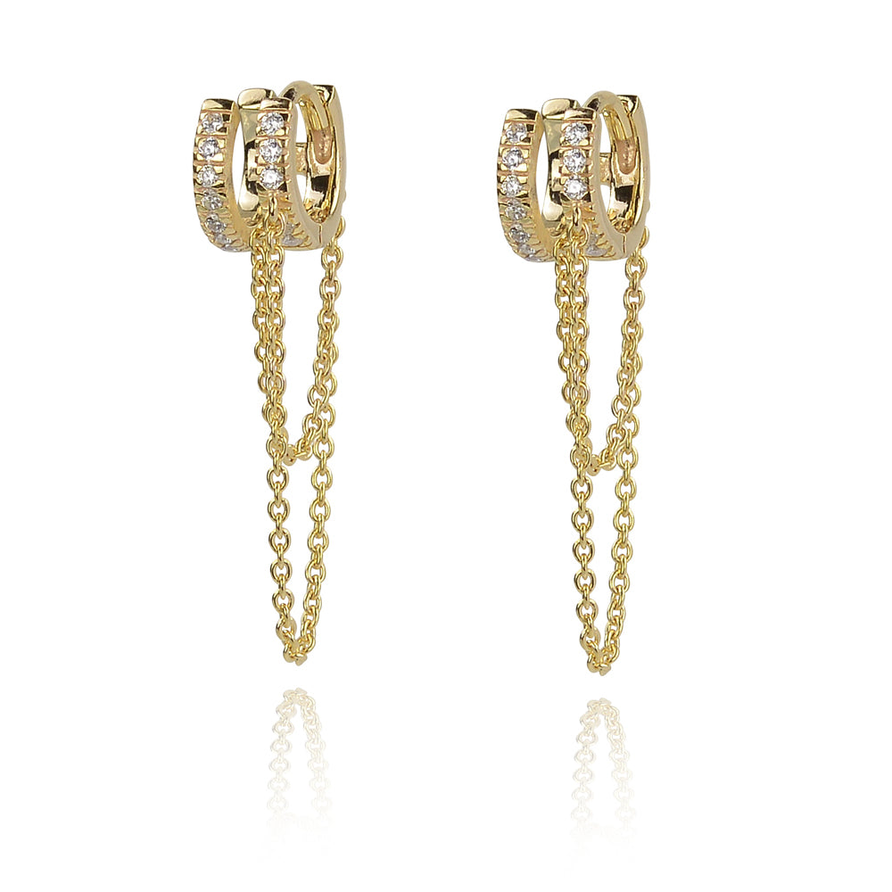 Double huggy glitter earing with hanging chain