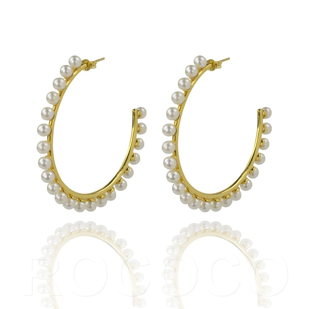 Pearls of wisdom large hoop earings