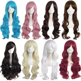 28 Inch Long Curly Fluffy Beauty Full Wig Side Bangs Cosplay Wigs