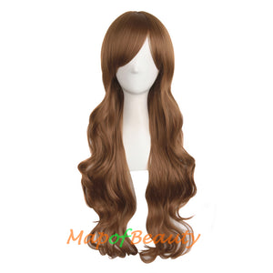 Beauty Natural Side Bangs Long Wave Curly Hair Cosplay Wigs