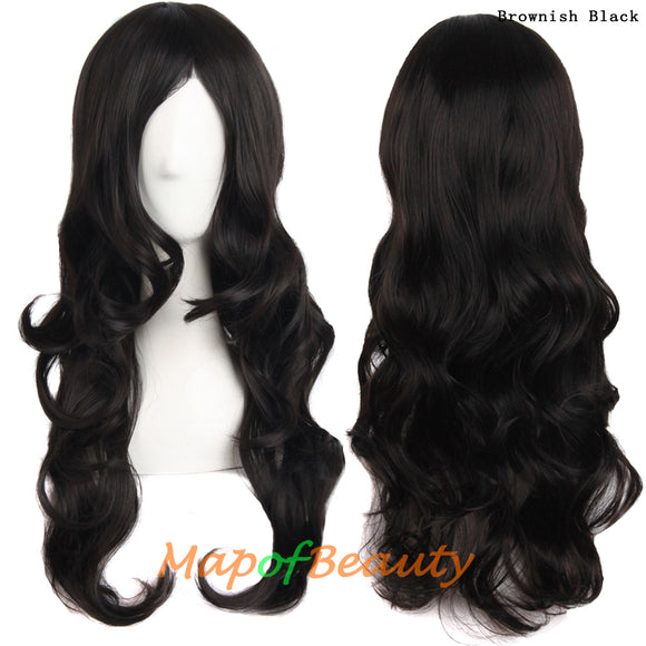 Princess  Female  Long curly  Ombre wig  Synthetic  Black