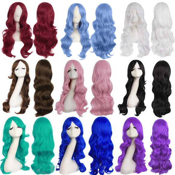 24 inch High-temperature Fiber Side Bangs Waves Roll Wigs Dreamy Cosplay Wigs