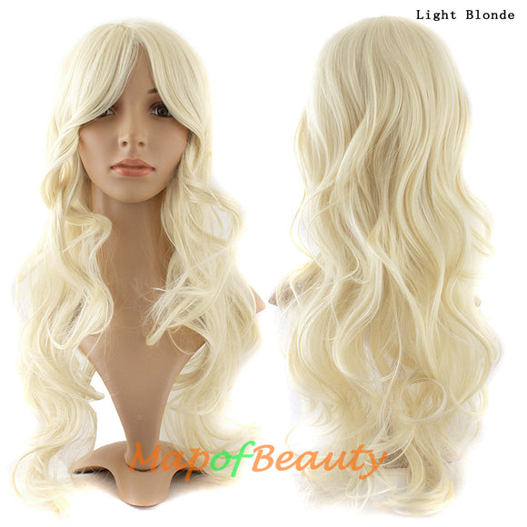 Light Blonde,Curly,Party wig,Wavy wig,Replacement Wig,Full wig