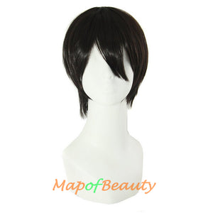 Short Cosplay Anime Wigs Curly Men's Wig Colored Black 12 Inch
