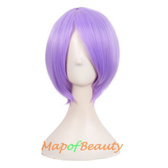 Blonde Short Straight Costume Cosplay Party Wigs for Women Men 12 Inch